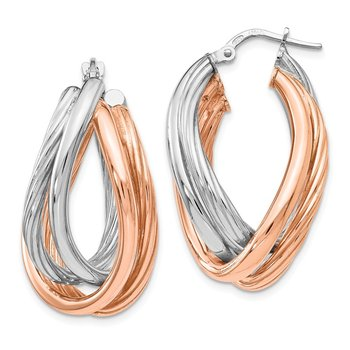 Leslie's SS Rose-tone Rhodium Plated Earrings