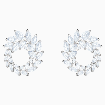 Louison Earrings, White, Rhodium plated