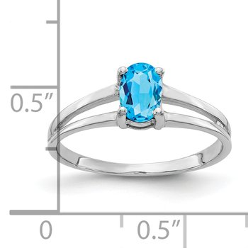 14k White Gold 6x4mm Oval Blue Topaz ring