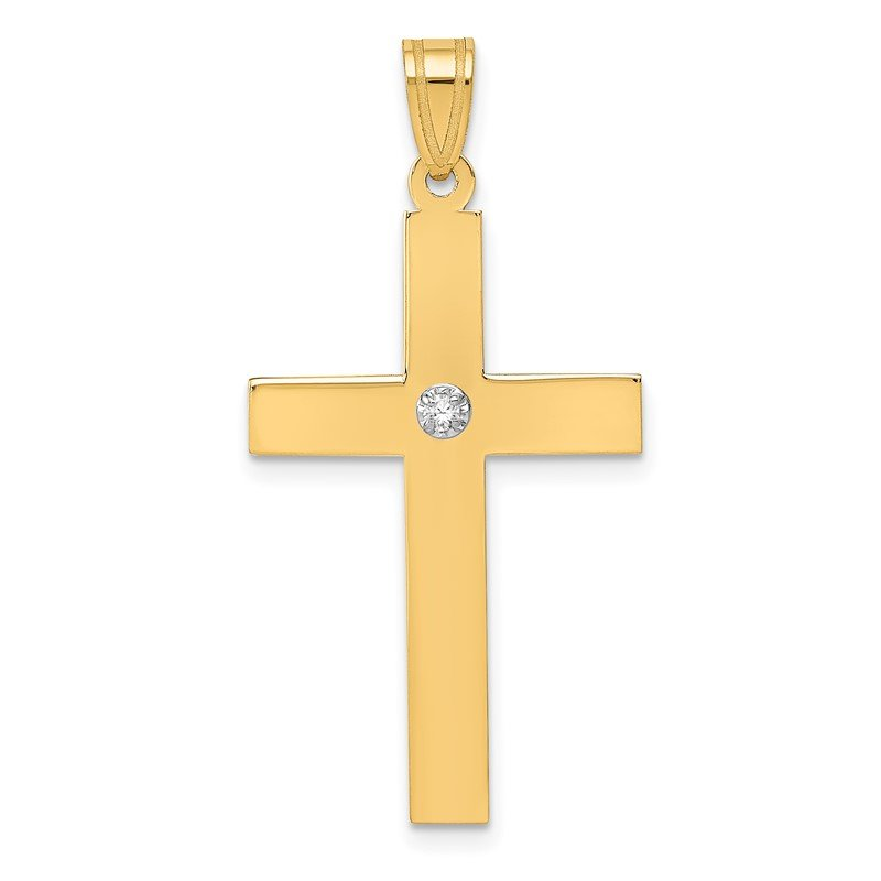 Quality Gold 14k Polished .02ct. Diamond Cross Pendant