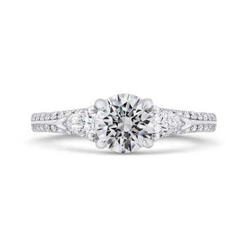 18K White Gold Round Diamond Three-Stone Plus Engagement Ring with Euro Shank (Semi-Mount)
