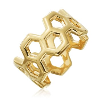 "Honeybee ""B"" Honeycomb Outline Ring R882G"