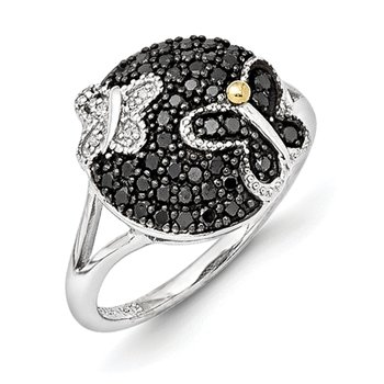 Sterling Silver w/14k and Black Rhodium Blk/White Diamond Ring