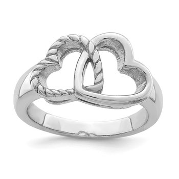 Sterling Silver Rhodium-plated Hearts Ring