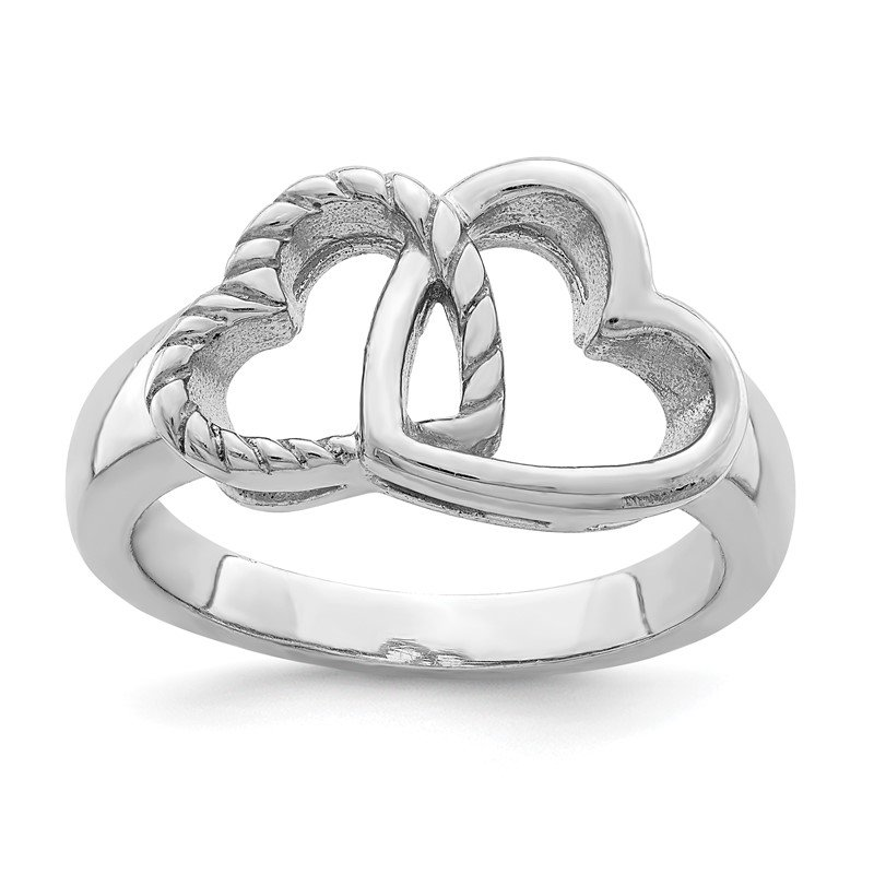 Quality Gold Sterling Silver Rhodium-plated Hearts Ring