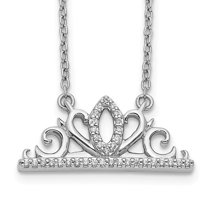 Quality Gold 14k White Gold Diamond Tiara Necklace