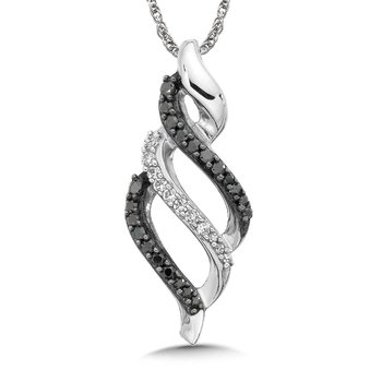 Pave setBlack and White Diamond Triple Wave Pendant, 10k White Gold  (1/5ct. dtw.)
