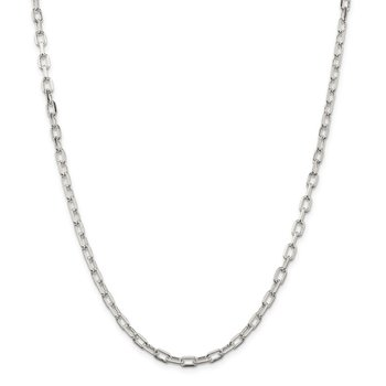 Sterling Silver 4.3mm Diamond-cut Long Link Cable Chain
