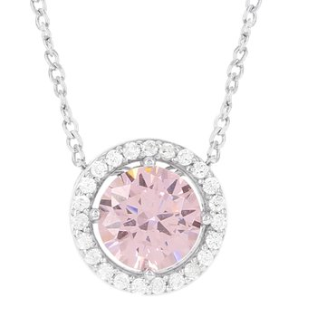 Sterling Silver Pink and White Ice Halo Pendant