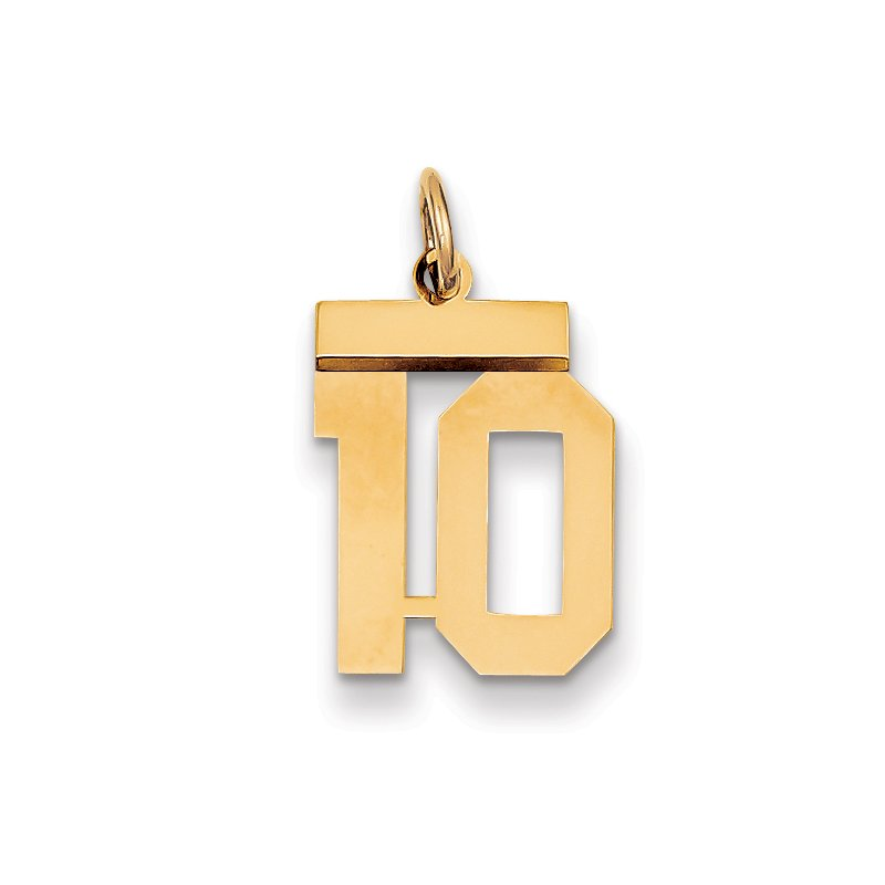 Quality Gold 14k Small Polished Number 10 Charm
