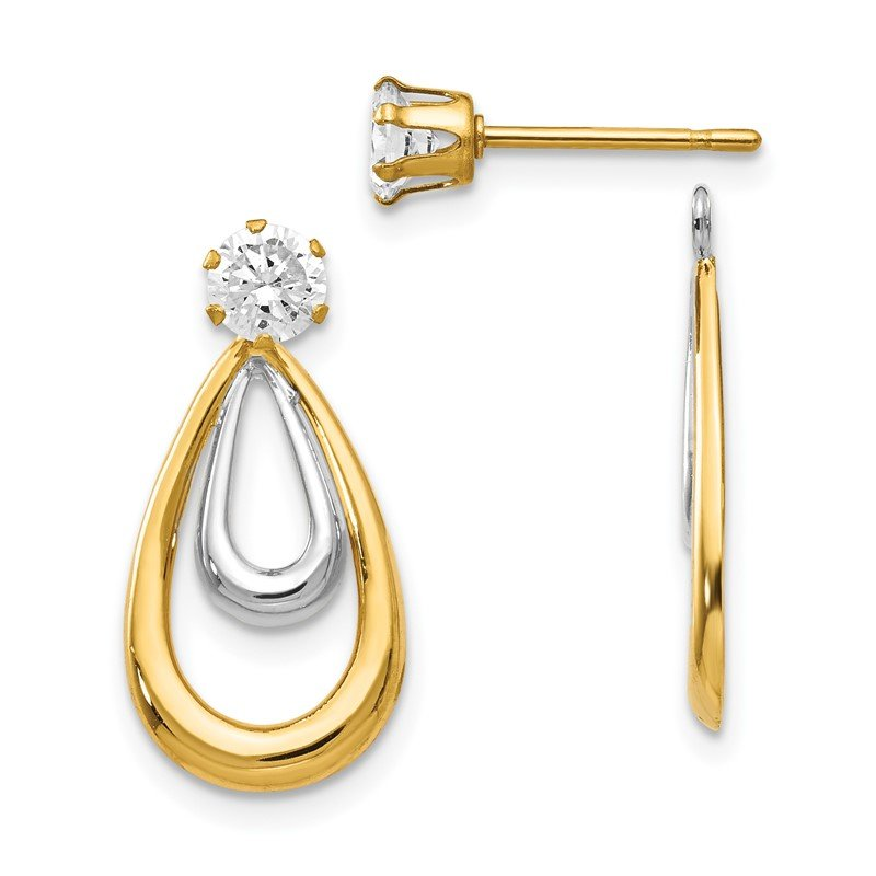 Quality Gold 14K Two Tone Polished w/CZ Stud Earring Jackets