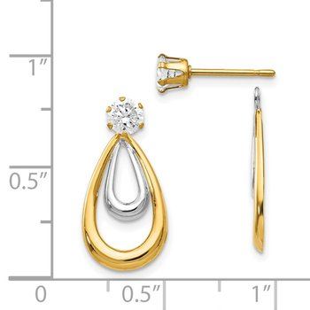 14K Two Tone Polished w/CZ Stud Earring Jackets