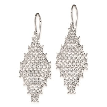 Sterling Silver Rhodium Plated Chain Link Dangle Earrings