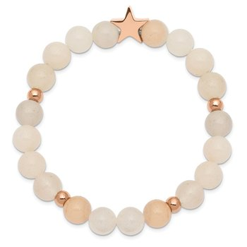 Stainless Steel Polished Rose IP Star White/Pink Aventurine Stretch Bracele
