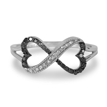 10K WG White & Black Diamond Infinity Collection Ring