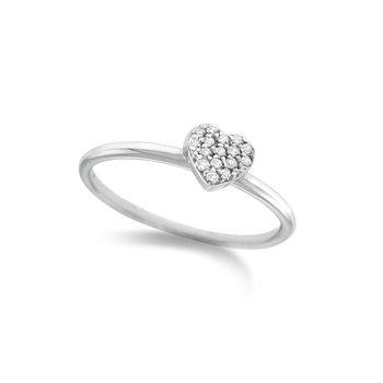 Diamond Pave Mini Heart Stack Ring in 14K White Gold with 16 Diamonds Weighing .10 ct tw