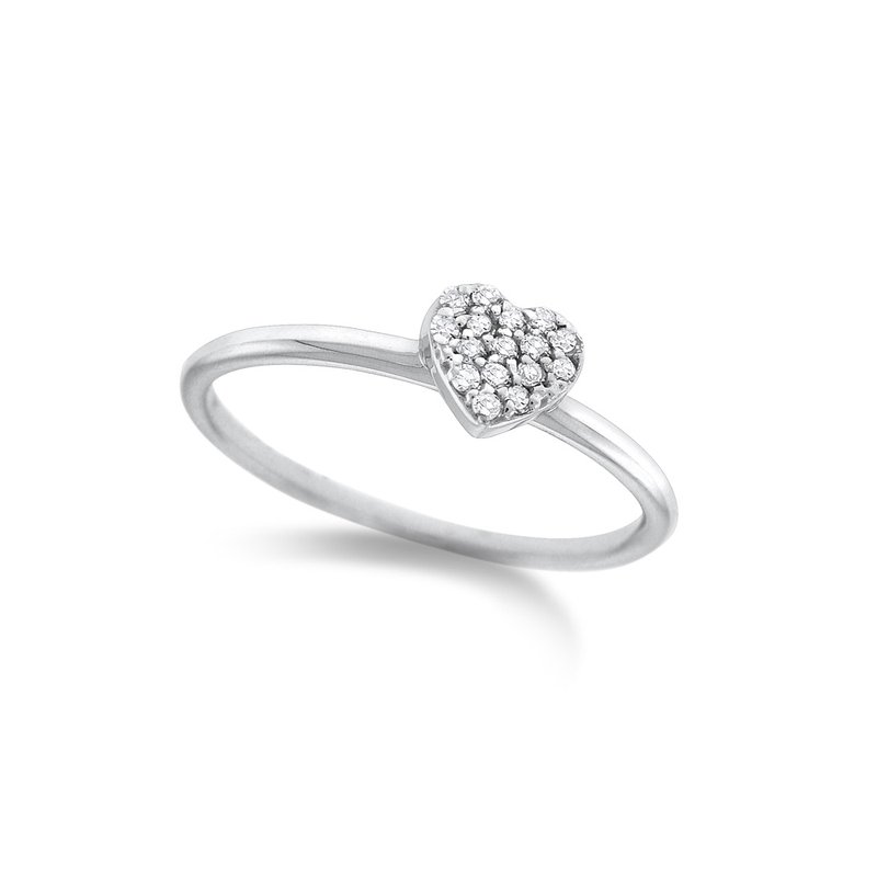 KC Designs Diamond Pave Mini Heart Stack Ring in 14K White Gold with 16 Diamonds Weighing .10 ct tw