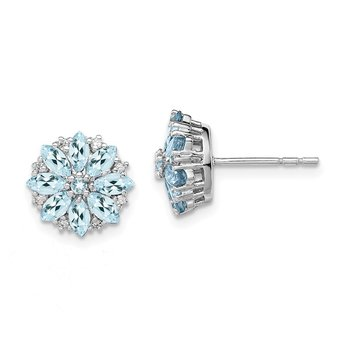 Sterling Silver Rhodium-plated Diamond & Aquamarine Earrings