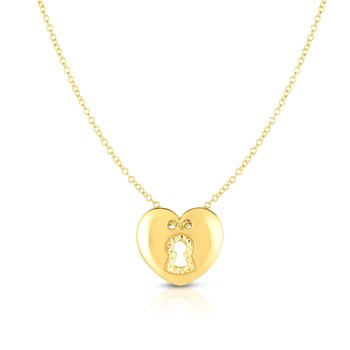 14K Gold Heart Lock Necklace
