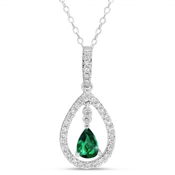 White Gold Tsavorite & Diamond Pend