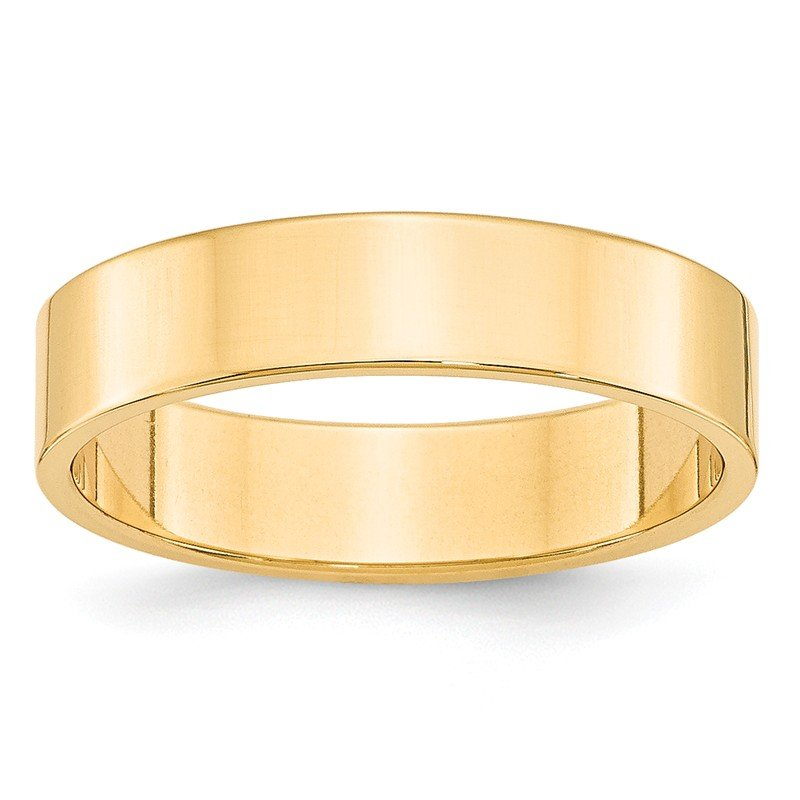 Quality Gold 14KY 5mm LTW Flat Band Size 10