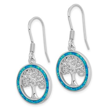Sterling Silver Rhodium-plated Creat Blue Opal w/ Tree Dangle Earrings