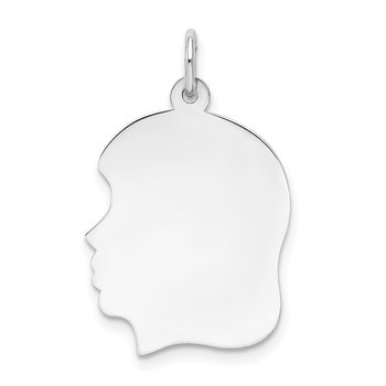 14k White Plain Medium.011 Depth Facing Left Engravable Girl Charm