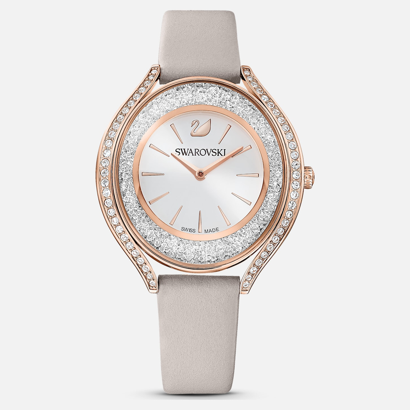 Swarovski Crystalline Aura Watch, Leather strap, Gray, Rose-gold tone PVD