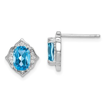 Sterling Silver Rhod-plated Post Blue Topaz and White CZ Earrings