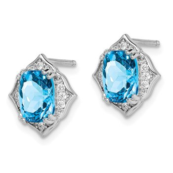 Sterling Silver Rhod-plated Blue Topaz and White CZ Post Dangle Earrings