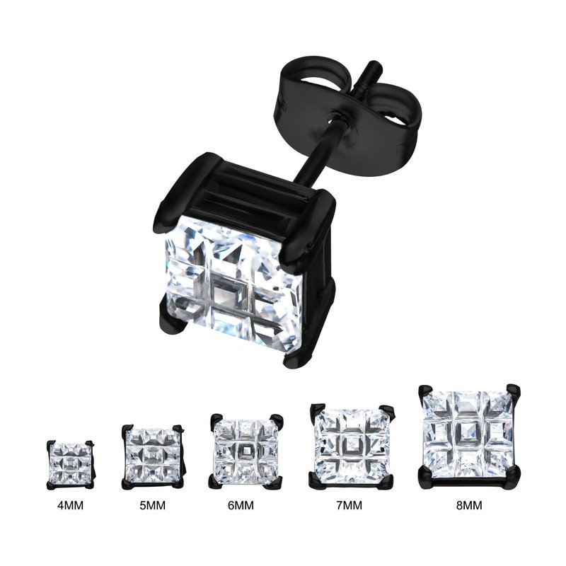 INOX Stainless Steel and Black Plated with Hashtag CZ Square Cut Stud Earrings