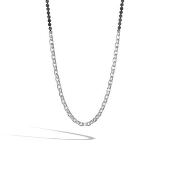 Classic Chain Link Necklace in Silver with 6MM Gemstone