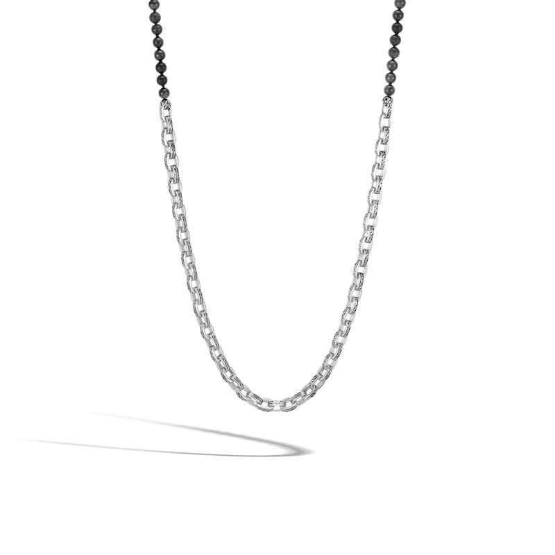 JOHN HARDY Classic Chain Link Necklace in Silver with 6MM Gemstone