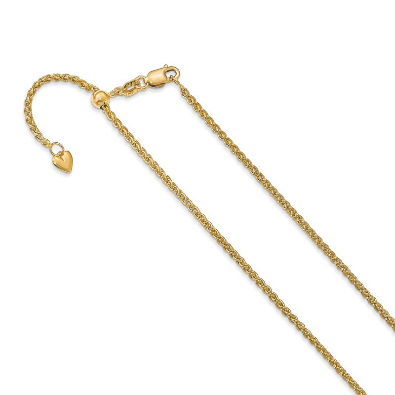 Leslie's Leslie's 14K Adjustable 1.6mm Semi Solid Spiga Chain