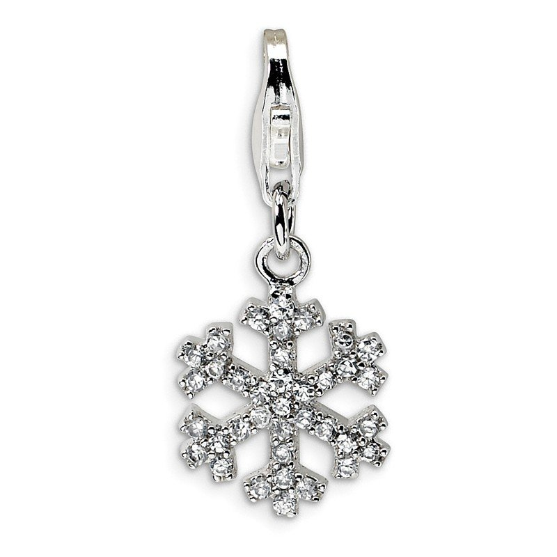 Quality Gold Sterling Silver Rhodium-plated CZ Snowflake w/Lobster Clasp Charm