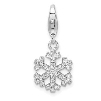 Sterling Silver Rhodium-plated CZ Snowflake w/Lobster Clasp Charm