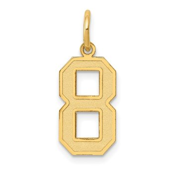 14k Medium Satin Number 8 Charm