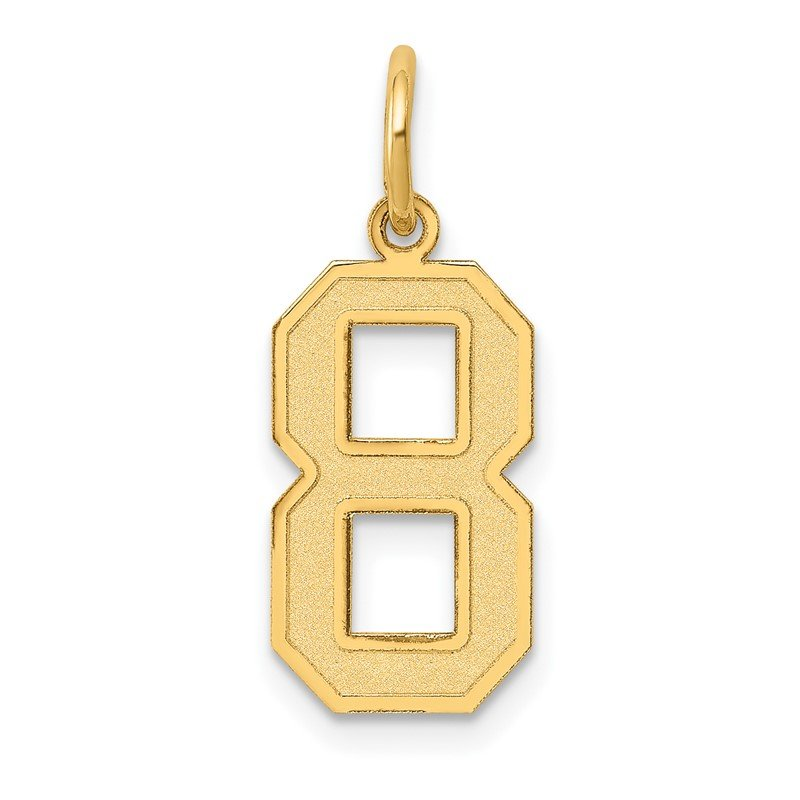 Quality Gold 14k Medium Satin Number 8 Charm