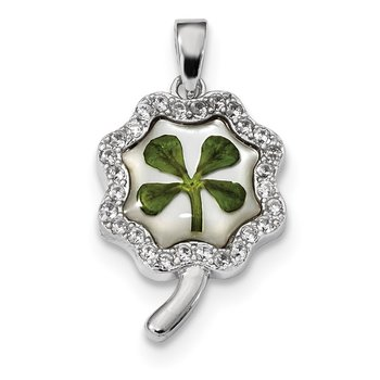 Sterling Silver Platinum Plated Leaf Clover Epoxy & Shell CZ Pendant
