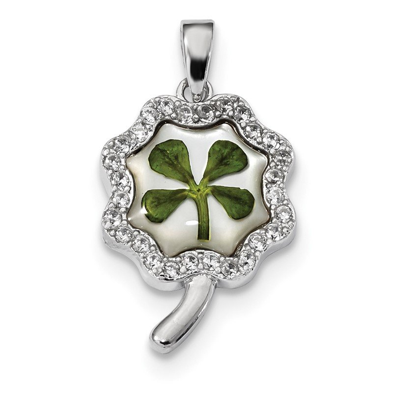 Quality Gold Sterling Silver Platinum Plated Leaf Clover Epoxy & Shell CZ Pendant