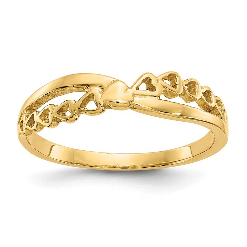 Quality Gold 14K Polished Criss Cross Pattern Hearts Ring