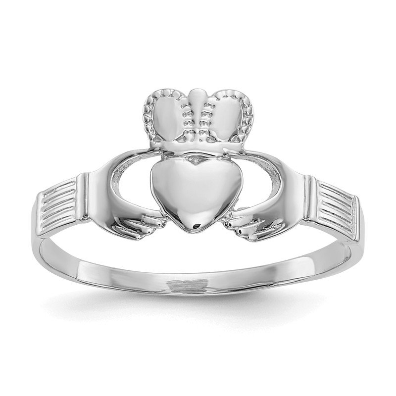 Quality Gold 14k White Gold Ladies Claddagh Ring