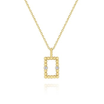 Diamond Rectangular Frame Pendant Set in 14 Kt. Gold