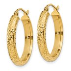 Quality Gold 14K Diamond-cut 3.5x22mm Hollow Hoop Earrings