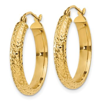 14K Diamond-cut 3.5x22mm Hollow Hoop Earrings