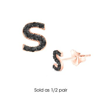 "Black Diamond Single Initial ""S"" Stud Earring (1/2 pair)"