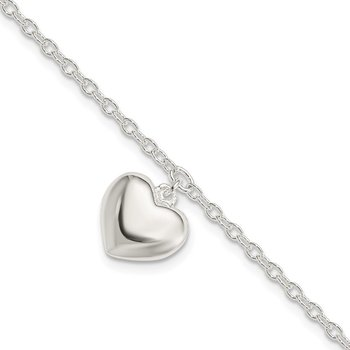 Sterling Silver Puffed Heart w/1.5in ext Bracelet