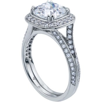 Square Halo Bead Set Diamond Engagement Ring