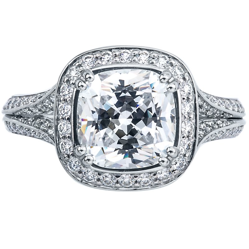 Mark Patterson Square Halo Bead Set Diamond Engagement Ring
