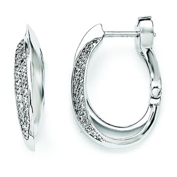 Sterling Silver Rhodium Plated Polished CZ Hinged Oval Double Hoop Dangle E